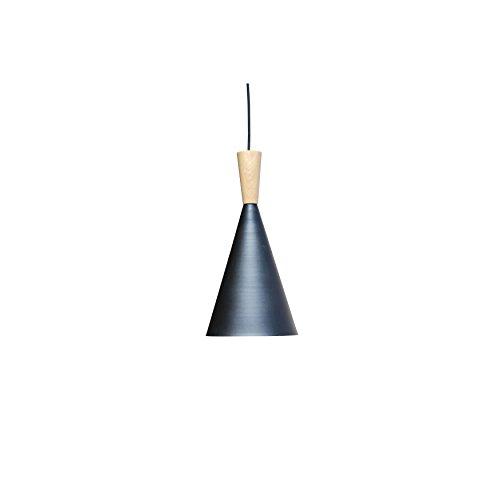 Lightupmyhome Vino 1 Light Black and Gold Tall Beat Pendant, Wood