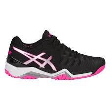 ASICS Wmn Gel-Resolution 7 9093 Black/Silver/Hot Pink-Size 9.5