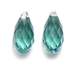 SWAROVSKI ELEMENTS 6010 Briolette Drop Beads, Transparent, Erinite, 5.5 by 11mm, 2 Per Pack