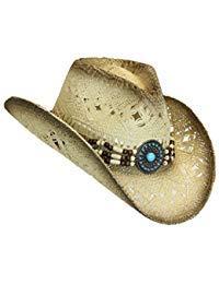 Western Toyo Straw Cowboy Hat, Shapeable w/ Stylish Beaded Concho Band (Focal Medallions Point)