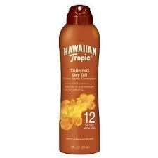 Hawaiian Tropic Tanning Dry Oil Clear Spray Sunscreen SPF 12 Twin Pack