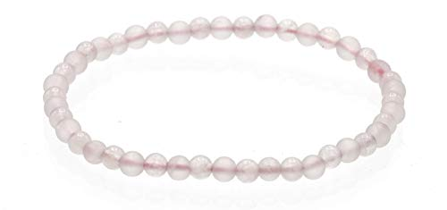 Alternating Matte and Glossy 4mm Round Rose Quartz Stretch Bracelet, 8