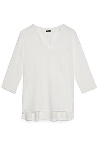 Size Blusa Quarti Bianco Oltre Bimaterica italian V Donna A Tre Maniche Scollo 7xRgqv