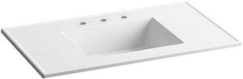 KOHLER K-2781-8-G81 Ceramic/Impressions 37 in. Rectangular Vanity-Top Bathroom Sink with 8 in. Widespread Faucet Holes, White Impressions (Rectangular Vanity Top)