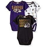 NFL Baltimore Ravens Unisex-Baby 3-Pack Short Sleeve Bodysuits, Purple, 6-12 Months