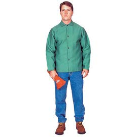Stanco Safety Products X-Large Green Cotton Leather Sleeves Flame Resistant Welding Jacket with Snap Closure (2 Pack)
