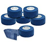 Syshion Self Adherent Cohesive Wrap Tape - 1 Inches X 6 Rolls - Non-Woven Elastic Sports Finger Safety Bandage (Navy Blue) (Mia X Pics)