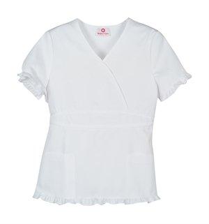 White Cross White Ruffle Trim Mock Wrap Scrub Top (L) Lace Trim Scrub Top