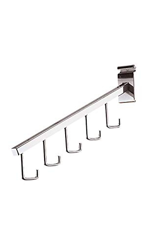 5-J-Hook Waterfall Chrome Faceout for Wire Grid - Pack of 5 ()