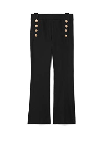 Derek Lam 10 Crosby Women's Woven Cotton Twill Cropped Flare Trouser W/Sailor Buttons