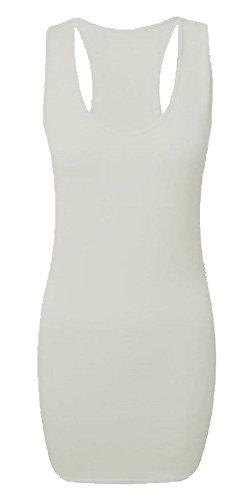 Dames Uni Long Moulant Dos Nageur Gilet Femmes Sans Manches Maxi Gym Top - Blanc, S/M 36-38