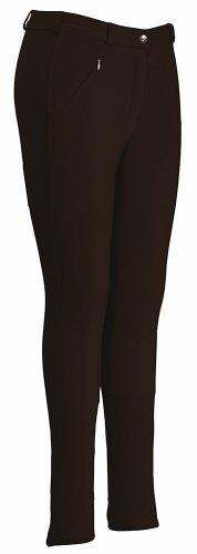 - TuffRider Ladies Ribb Lowrise Knee Patch Regular Breeches Chocolate 30 Regular