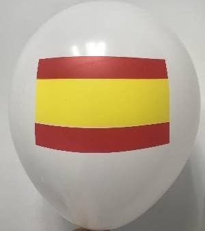 Globos Serigrafiado Bandera de España DE 30 cm Aprox Color Blanco Solido (12 ud): Amazon.es: Juguetes y juegos