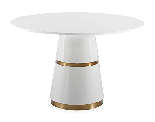 TOV Furniture TOV-GT5505 Rosa Modern Round Dining Table with Conical Base, White/Gold (Standard Size Of 4 Seater Dining Table)