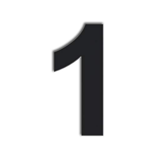QT Modern House Number - 6 Inch Black- Stainless Steel (Number 1 One), Floating Appearance, Easy to Install and Made of Solid 304 Stainless Steel, Easy to Install