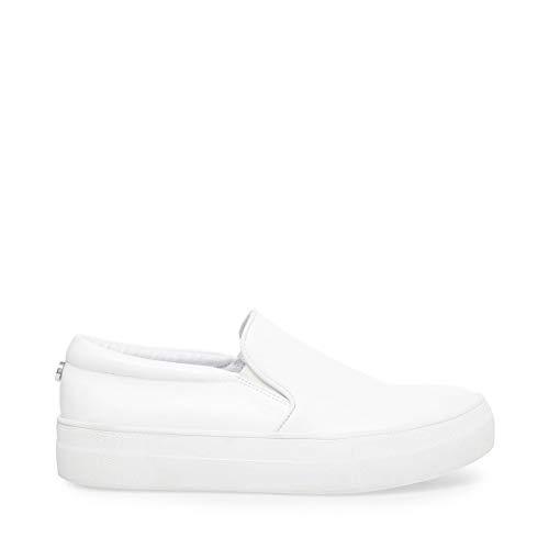 Steve Madden Women's Gills Shoe, White Leather, 9.5 M US