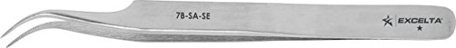Excelta - 7B-SA-SE - Tweezers - Very Fine Point - Curved - One Star - Anti-Mag. SS - Serrated Tips, 0.06