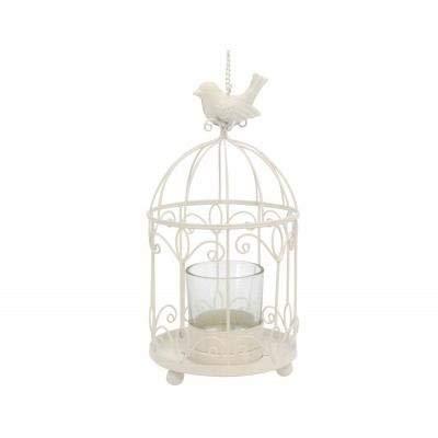 Gisela Graham Rustic Cream Hanging Birdcage T-Lite Holder Wedding