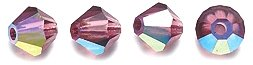 Preciosa 4mm Czech Crystal Diamond/Bicone Bead, Amethyst Aurora Borealis, 144-Piece Shipwreck Beads 82CC598
