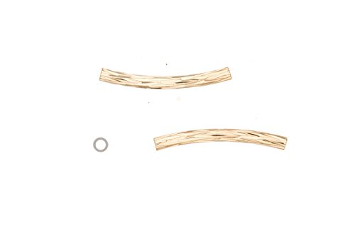 Thick Tube Metal Tube Beads Gold Finished Round Curved Tube With Diamond Patterned 2x20mm Sold per pack of 30