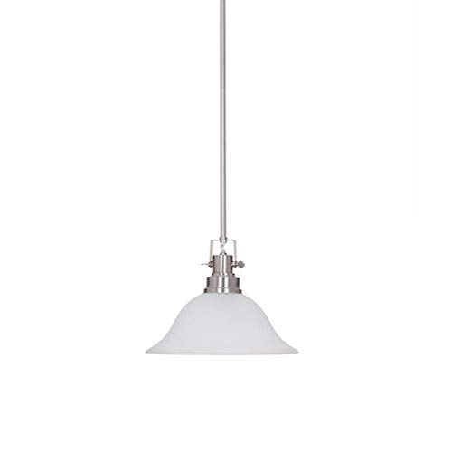 Ravenna Home Frosted Glass Pendant Light Fixture With LED Light Bulb - 12.25 x 12.25 x 53.50 Inches, Brushed Nickel