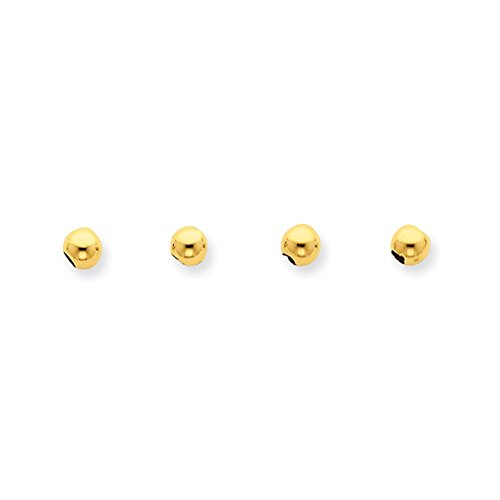 Designer Spacer Beads (ICE CARATS 14k Yellow Gold Set Of 4 4mm Spacer Beads Bead Fine Jewelry Ideal Mothers Day Gifts For Mom Women Gift Set From Heart)