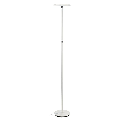 Brightech Sky LED Torchiere Super Bright Floor Lamp - Tall Standing Modern Pole Light for Living Rooms & Offices - Dimmable Uplight for Reading Books In your Bedroom etc - Alpine White by Brightech