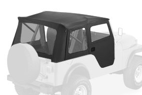 Bestop 51595-01 Black Crush Supertop Classic Replacement Soft Top with Clear Windows; 2-pc. Full Doors for 1955-1975 Jeep CJ5 & 1951-1962 M38A1