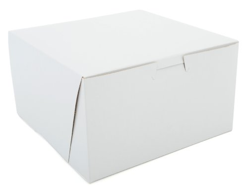 Southern Champion Tray 0921 Premium Clay-Coated Kraft Paperboard White Non-Window Lock Corner Bakery Box, 7'' Length x 7'' Width x 4'' Height (Case of 250) by Southern Champion Tray