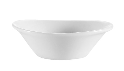 (CAC China JEL-2 Accessories 3-1/2-Inch by 3-Inch by 1-1/4-Inch Porcelain Oval Sauce Dish, 2-Ounce, Super White, Box of 72)