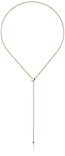 (14k Yellow Gold Adjustable Heart Lariat Sparkle Chain Y-Shaped Necklace,)