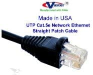 UL cm and 100/% Copper. 24AWG, 50u Gold Plating Cat5e Ethernet Patch Cable RJ45 Computer Networking Cord - Black 48 Ft Made in USA,