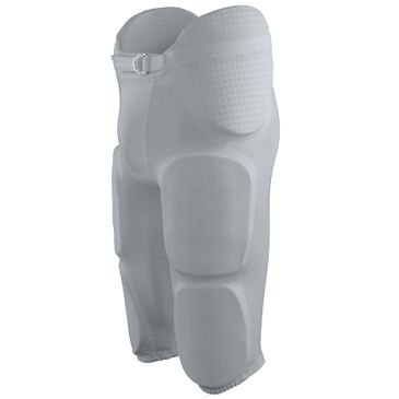 Augusta Adult Medium Silver Football Gridiron Integrated Pads Pants (7 Sewn-in Pads: Hips, Tail, Thighs, Knees)