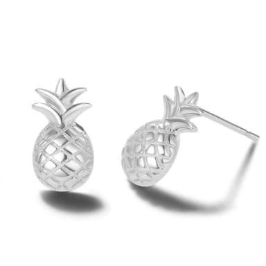Carleen 14k White Gold Plated 925 Sterling Silver Dainty Small Cute Statement Pineapple Earrings Fine Jewelry Stud Earrings for Women Girls, 14X8mm
