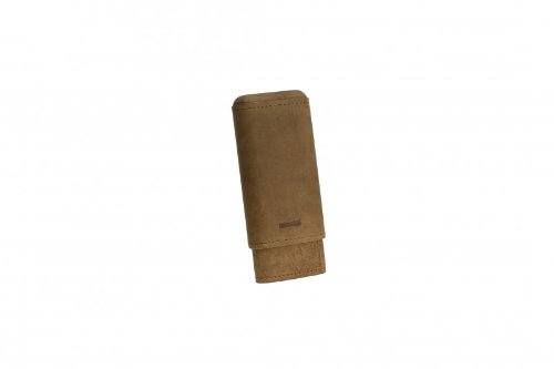 Adorini Cigar Case Real Leather 2-3 Cigars Brown