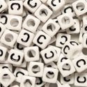 White Plastic Cube Alphabet Beads, Small, 6mm, Letter C, 100 pcs