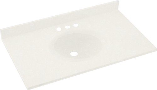 Swanstone VT1B2243-059 Ellipse Solid Surface Single-Bowl Vanity Top, 43-Inch by 22-Inch, Tahiti Ivory