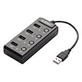 ORICO HF4US High Speed USB 2.0 4-Port Ultra Mini Hub With Individual On / Off Power Switches for Ultra Book, MacBook Air, Windows 8 Tablet PC and More, Black