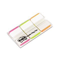 -- Durable File Tabs, 1 x 1 1/2, Striped, Assorted Fluorescent Colors, 66/Pack