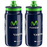 France De Bottle Water Tour (Elite Fly Team Movistar Canyon Cycling Water Bottles - Navy Blue/Green, 550ml (2 Pack))