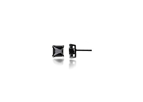 teel Studs Earrings Men Women 6x6 Square Princess Cut Black Basket Setting Black Cubic Zirconia Hypoallergenic Earrings ()