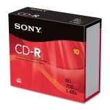 Sony 48x CD-R Media - 700MB - 120mm - 10 Pack Slim Jewel Case