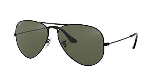 Ray-Ban RB3025 Aviator Large Metal Unisex Polarized Aviator Sunglasses (Black Frame/Crystal Green Polarized Lens 002/58, 58)
