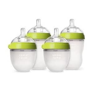 Comotomo 5 oz and 8 oz Baby Bottles, 4 Pack (Green)