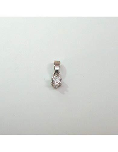 7fbe21bee2 Gioielleria Damiata - Ciondolo Pendente Punto Luce in Oro Bianco 18 kt  carati con zircone
