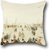 Oil Painting Hendrick Avercamp - Winter Scene On A Frozen Canal Throw Cushion Covers 20 X 20 Inch / 50 By 50 Cm Gift Or Decor For Wedding,dance Room,seat,couples,monther,chair - Two Sides