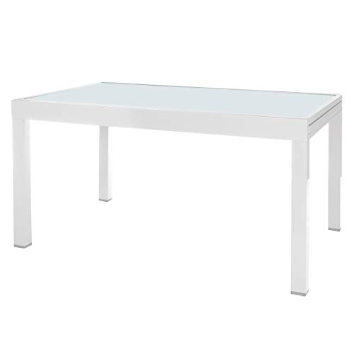 Mesa de jardin Extensible Aluminio Blanca de 74x135x90 cm - LOLAhome