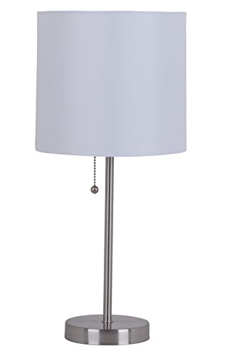 (Catalina Lighting 17842-030 Modern Stick Accent Table Lamp with Pull Chain and White Fabric Shade, 19