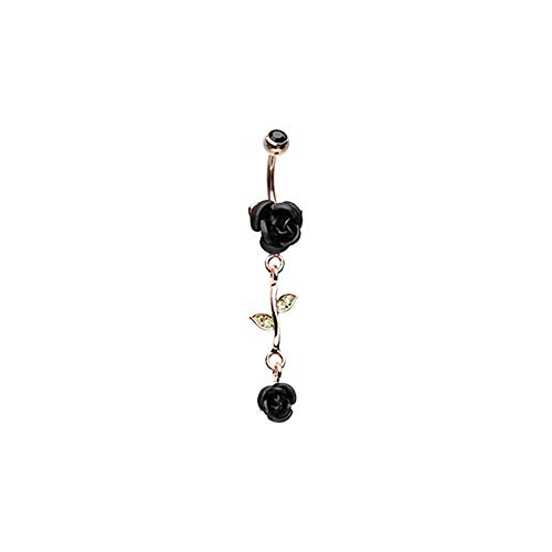 Pierced Owl CZ Crystal Leaves and Vine Rose Flower Dangle Belly Button Navel Ring (Black)