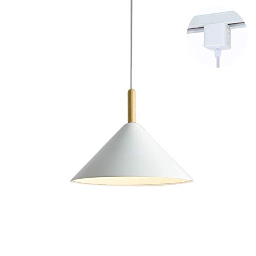 ANYE White Cone Shade Light Fixtures H-Type Track Light Pendants 1.6ft Cord Wooden Handle Pendant Light Nordic Minimalist Style for Restaurant Dining Room Bulb Sold Separately